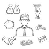 Banker, money and finance sketch icons. Banker profession sketch design with businessman and financial icons with money bags, ATM, credit card, handshake, piggy Royalty Free Stock Photography
