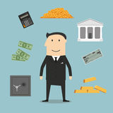 Banker profession and financial icons. With businessman and gold, safe and check,  dollar coins and bills, calculator and bank building Stock Images