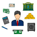 Banker profession and financial icons. With man in elegant costume and necktie among dollar bills, stacked gold bars and bank check, bank building and Stock Photography