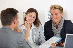 Banker talking with his team Royalty Free Stock Photography