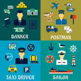 Banker, taxi driver, postman and sailor icons Stock Photos