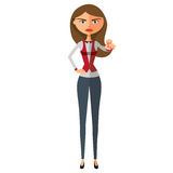 Banker woman motivation flat cartoon vector illustration. Eps10. Isolated on a white background. Eps 10 Stock Image