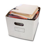 Bankers Box and Folders Isolated Stock Photography