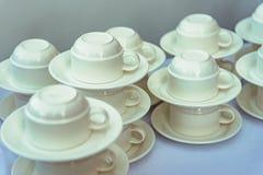 banket De koppen van de koffie op de lijst royalty-vrije stock afbeelding
