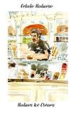 Banketbakker het glimlachen kerel die Italiaans gelatoroomijs in de gelateriaopslag verkopen De illustratie van de waterverf vector illustratie