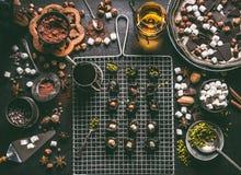Banketbakkerij of patisserieconcept De voorbereiding van pralines met gedroogde pruimen doorweekte in rum en vulde met noten, hee stock afbeelding