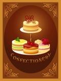 Banketbakkerij – teken met vier soorten cakes Stock Foto