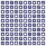 100 banketbakkerijpictogrammen geplaatst grunge saffier Royalty-vrije Stock Foto