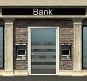 Bankfilial med den automatiserade kassörmaskinen stock illustrationer