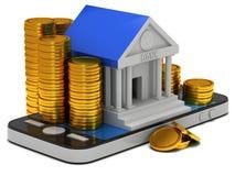 Bankgebäude auf Smartphone Lizenzfreie Stockfotos