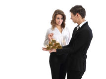Bankier en goudstaven Royalty-vrije Stock Foto