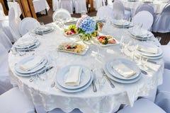 Bankieta round stół dla gości Fotografia Royalty Free