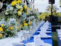 Bankieta stół Ustawiający dla Poślubiać Zdjęcie Stock