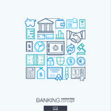 Banking abstract background, integrated thin line symbols. Royalty Free Stock Photos
