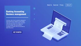 Banking accounting, business and financial managements concept, electronic bill payment notification, open laptop. Isometric icon, vector illustration Royalty Free Stock Image