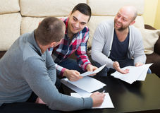 Banking agent explaining happy terms Royalty Free Stock Image