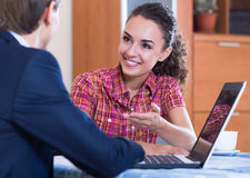 Banking agent with nice offer consulting customer Stock Image