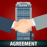 Banking agreement concept. Handshake vector illustration in flat style Royalty Free Stock Photo