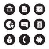 Banking black icons set Royalty Free Stock Photo