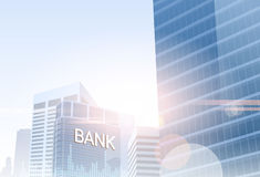 Banking Business Banner Finance Savings Bank Building Silhouette City Background. Banking Business Banner Finance Savings Silhouette City Background Vector Stock Image