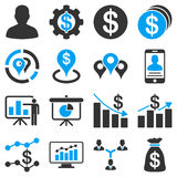 Banking business and charts icons. These flat bicolor symbols use blue and gray colors. Vector images are  on a white background Royalty Free Stock Photography