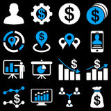 Banking business and charts icons. These flat bicolor symbols use blue and white colors. Vector images are  on a black background Royalty Free Stock Photos