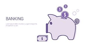 Banking Business Concept Money Savings Template Web Banner With Copy Space. Vector Illustration Stock Photography