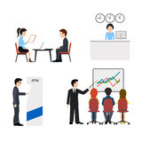 Banking business concept.People in a bank flat vector icons set. Royalty Free Stock Photos