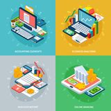 Banking Business Design Concept. Accounting isometric design concept with conceptual compositions of electronic gadgets with money and various infographic Royalty Free Stock Photos