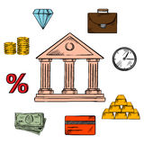 Banking, business and finance icons. With a central bank building encircled by money, gold bullion and briefcase, clock and diamond, commodities and investment Stock Photo