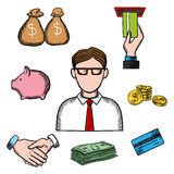 Banking, business and financial icons. Banker profession icons with businessman in glasses and financial icons such as money bags, ATM and credit card, handshake Royalty Free Stock Photos