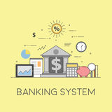 Banking and business. Financial market. Secure transactions and payments protection, the guarantee security of financial. Flat vector illustration. Concept Stock Photo