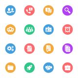 Banking and Business flat white icons set 16. Pieces with colored circles on a white background Royalty Free Illustration
