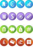 Banking Buttons - 4 Color. Collection of sixteen banking themed buttons Stock Photos