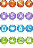 Banking Buttons - 4 Color. Collection of sixteen banking themed buttons Stock Images