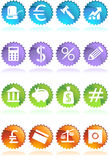 Banking Buttons - 4 Color - Seal. Collection of sixteen banking themed buttons in a seal style Royalty Free Stock Photo
