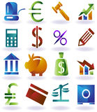 Banking Buttons. Collection of sixteen banking themed buttons Stock Photo