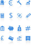 Banking Buttons - Light Blue. Collection of sixteen banking themed buttons Stock Photos