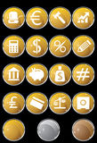 Banking Buttons - Round Shaped. Collection of sixteen banking themed buttons Stock Photography