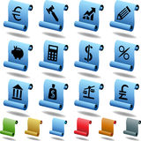 Banking Buttons - Scroll. Collection of 12 3D banking themed buttons in a scroll style Royalty Free Stock Photos