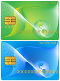 Banking card. Illustration of banking card, blue, green Stock Photos
