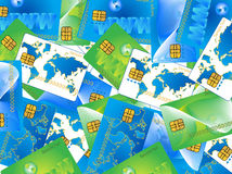 Banking card. Illustration of banking card, blue, green, white Stock Image