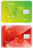 Banking cards. Illustration of banking cards, green and red Stock Photography