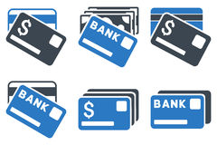 Banking Cards Flat Glyph Icons Stock Photography