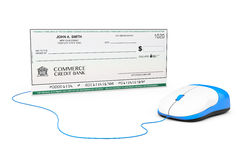 Banking Check connected to computer mouse Royalty Free Stock Images