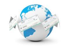 Banking Checks around Earth Globe Royalty Free Stock Images