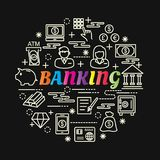 Banking colorful gradient with line icons set. Vector editable stroke Stock Photos