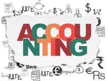 Banking concept: Accounting on Torn Paper background. Banking concept: Painted multicolor text Accounting on Torn Paper background with  Hand Drawn Finance Icons Stock Images