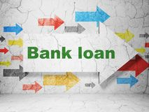 Banking concept: arrow with Bank Loan on grunge wall background. Banking concept: arrow with Bank Loan on grunge textured concrete wall background, 3D rendering royalty free stock photo