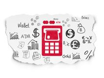 Banking concept: ATM Machine on Torn Paper background. Banking concept: Painted red ATM Machine icon on Torn Paper background with  Hand Drawn Finance Icons Stock Image